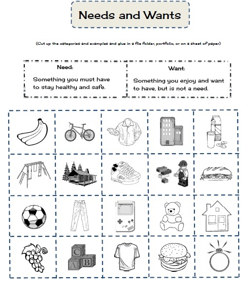 Worksheets Needs And Wants Worksheet Cut And Paste needs wants worksheet 17 best images about kinder and on pinterest